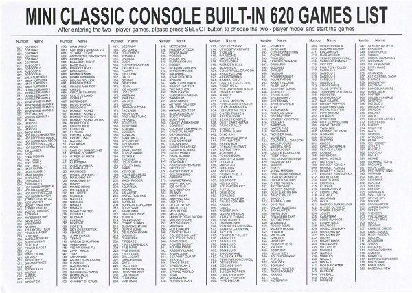 620 NES games list